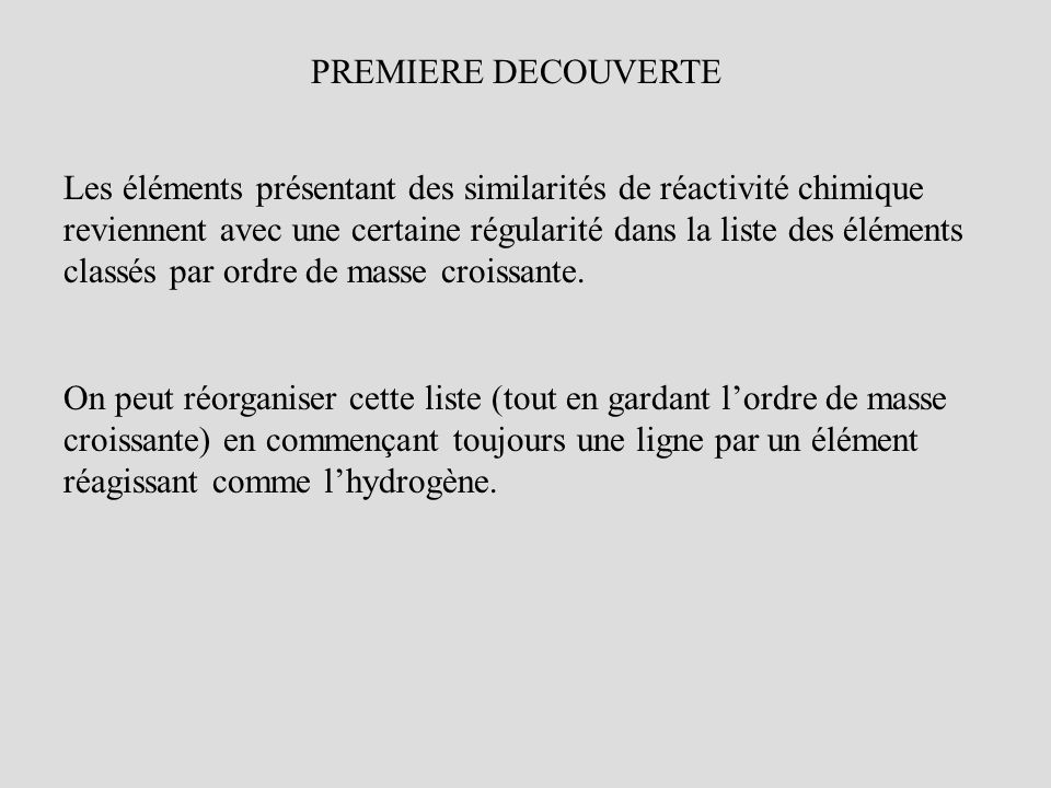 PREMIERE DECOUVERTE