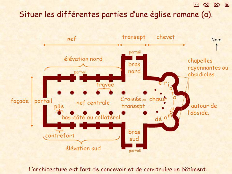 Situer les différentes parties d'une église romane (a).