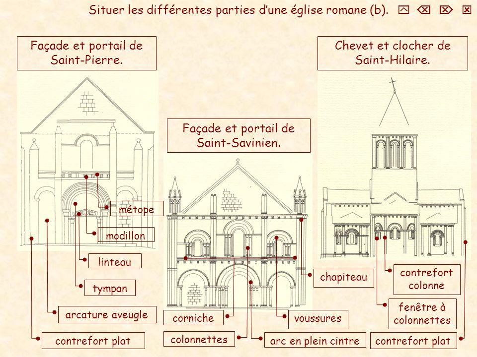 Situer les différentes parties d'une église romane (b).    