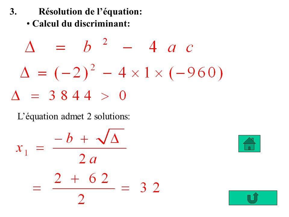 3. Résolution de l'équation: