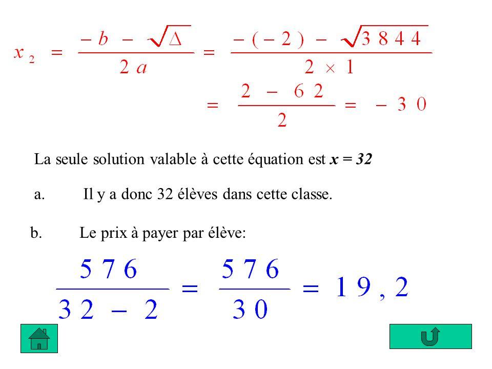 La seule solution valable à cette équation est x = 32