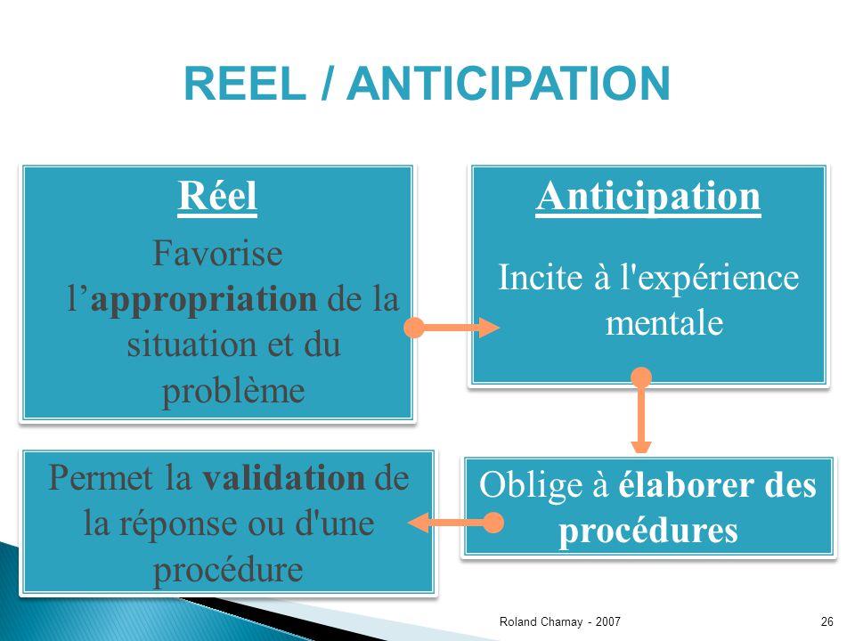 REEL / ANTICIPATION Réel Anticipation