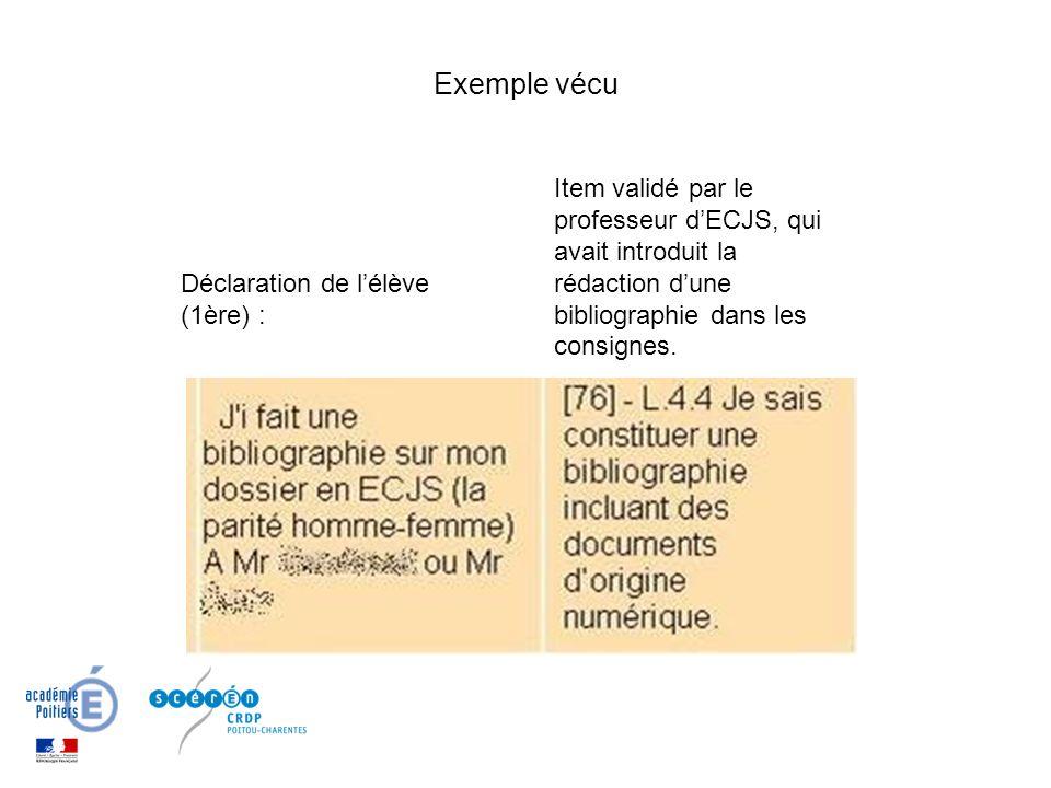 Exemple vécu Item validé par le professeur d'ECJS, qui avait introduit la rédaction d'une bibliographie dans les consignes.