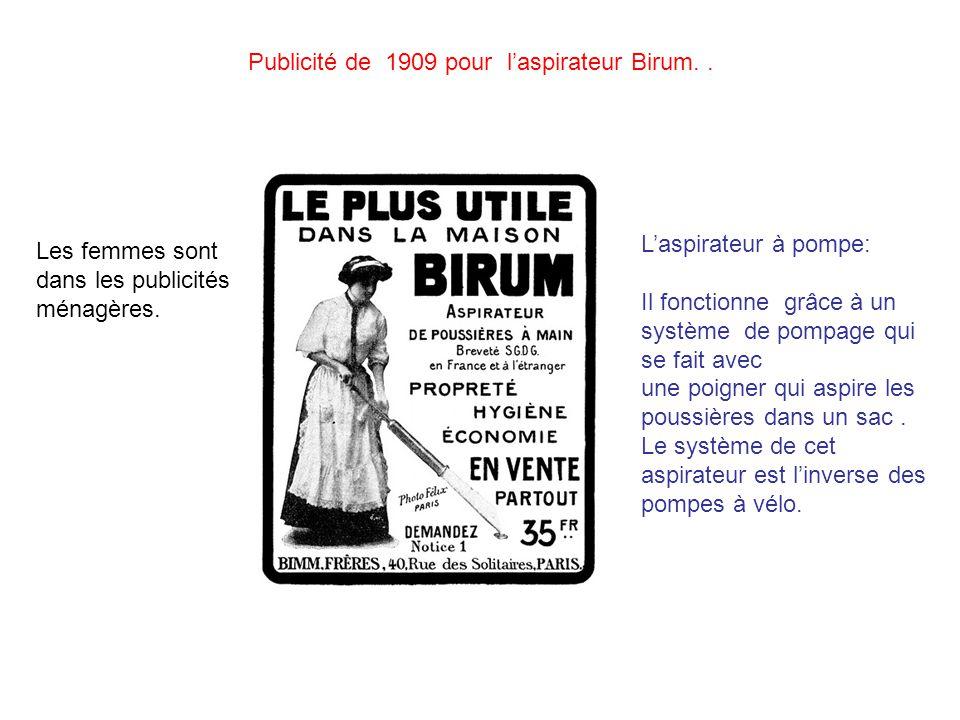 Publicité de 1909 pour l'aspirateur Birum. .