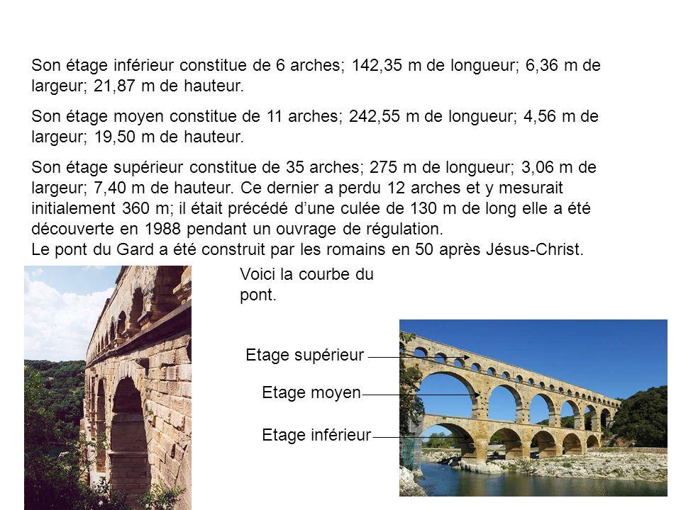 Son étage inférieur constitue de 6 arches; 142,35 m de longueur; 6,36 m de largeur; 21,87 m de hauteur.