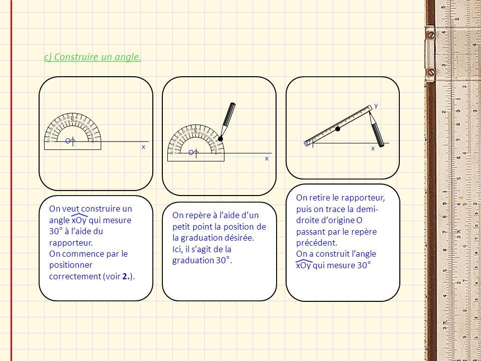 c) Construire un angle. 180. 170. 10. 160. 20. 150. 30. 140. 40. 130. 50. 120. 60. 110.