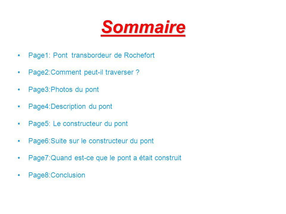 Sommaire Page1: Pont transbordeur de Rochefort