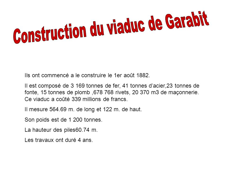 Construction du viaduc de Garabit