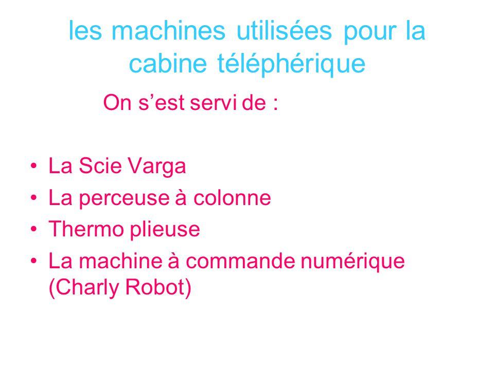 les machines utilisées pour la cabine téléphérique