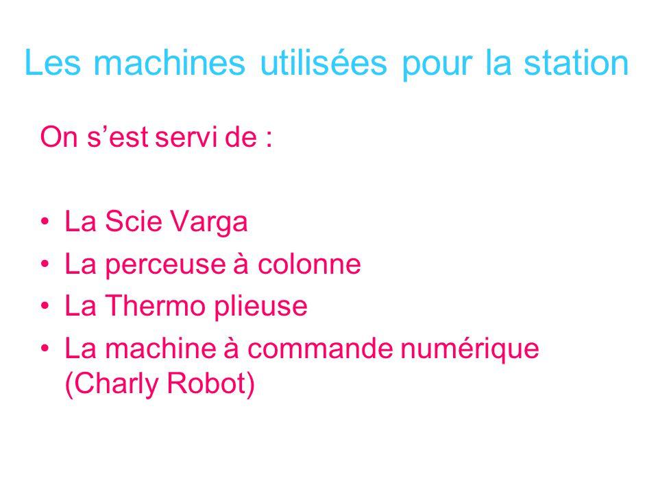 Les machines utilisées pour la station