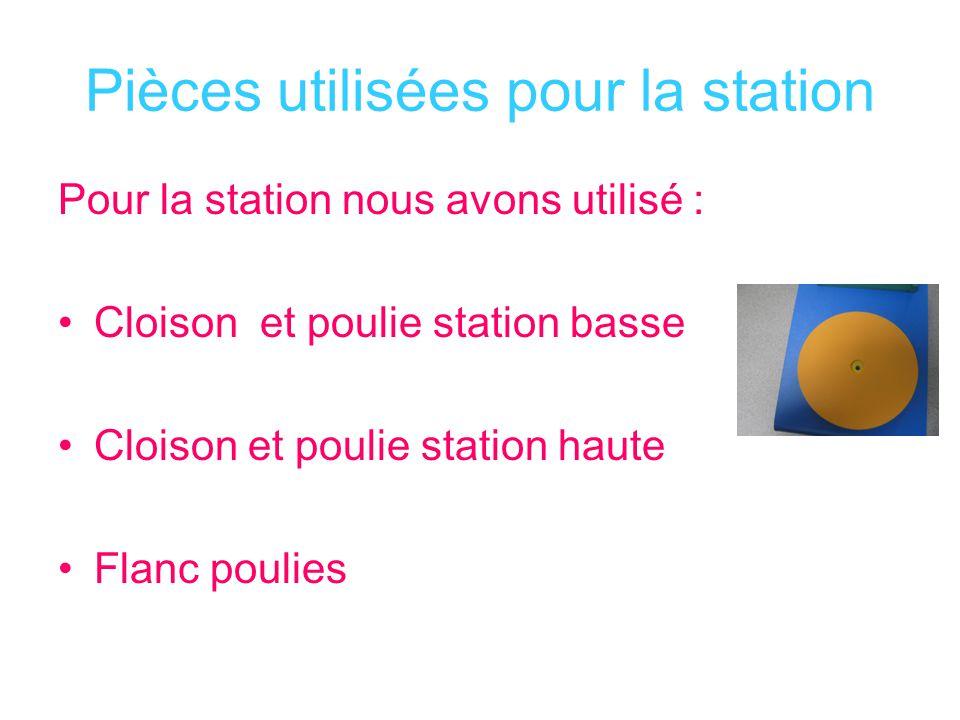 Pièces utilisées pour la station