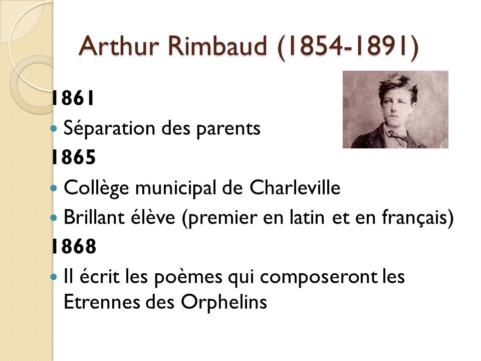 Arthur Rimbaud (1854-1891) 1861 Séparation des parents 1865