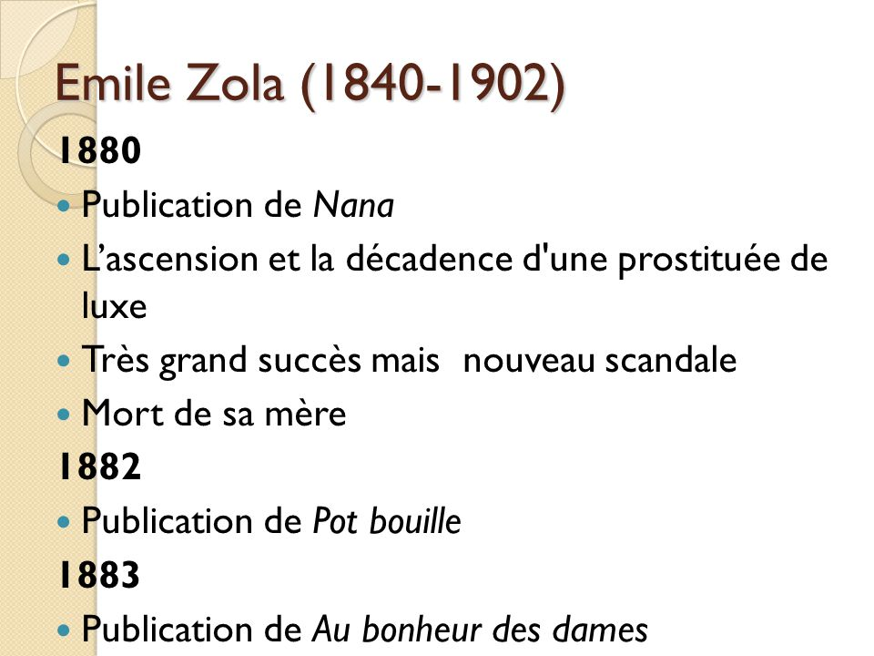 Emile Zola (1840-1902) 1880 Publication de Nana