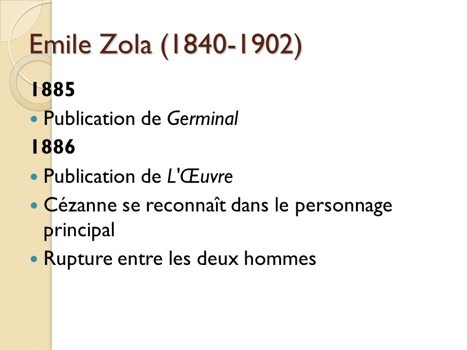 Emile Zola (1840-1902) 1885 Publication de Germinal 1886