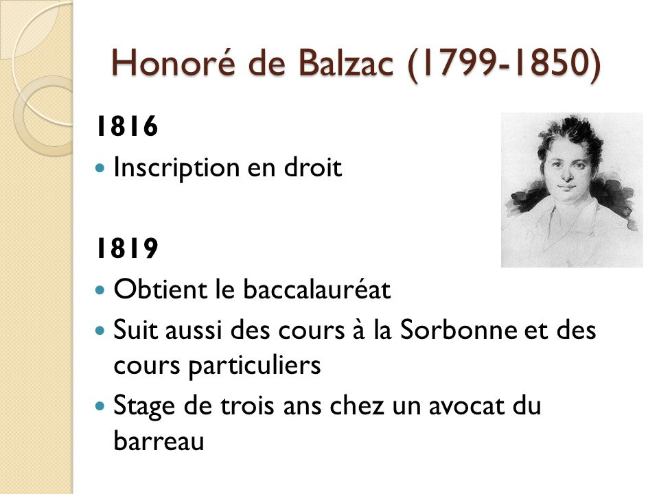Honoré de Balzac (1799-1850) 1816 Inscription en droit 1819