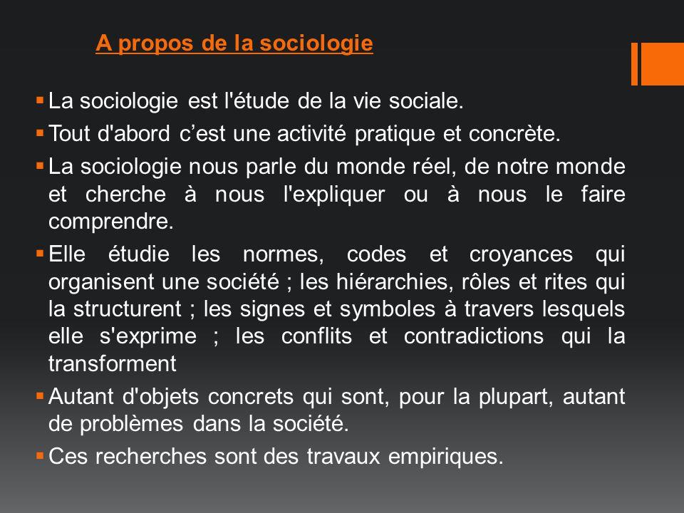 A propos de la sociologie