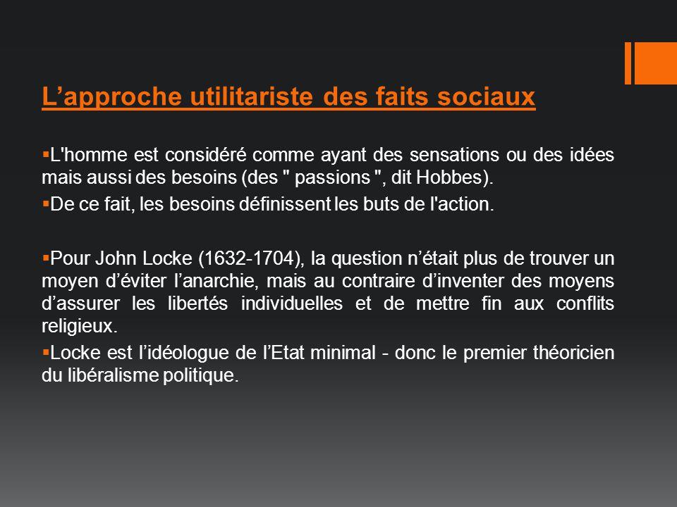 L'approche utilitariste des faits sociaux
