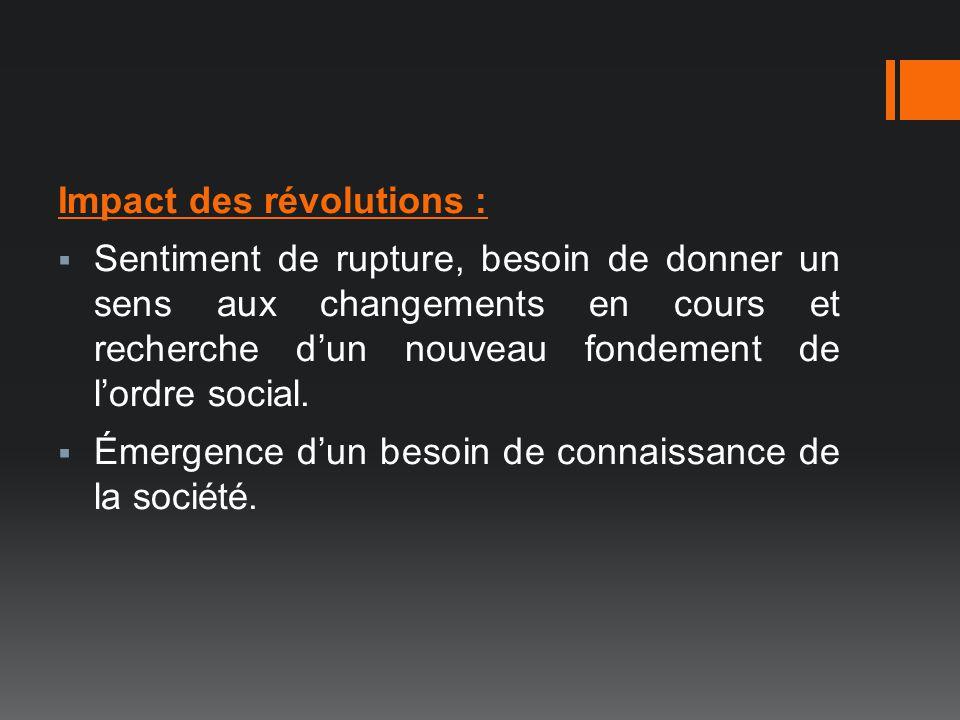 Impact des révolutions :