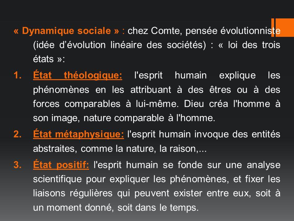 « Dynamique sociale » : chez Comte, pensée évolutionniste (idée d'évolution linéaire des sociétés) : « loi des trois états »: