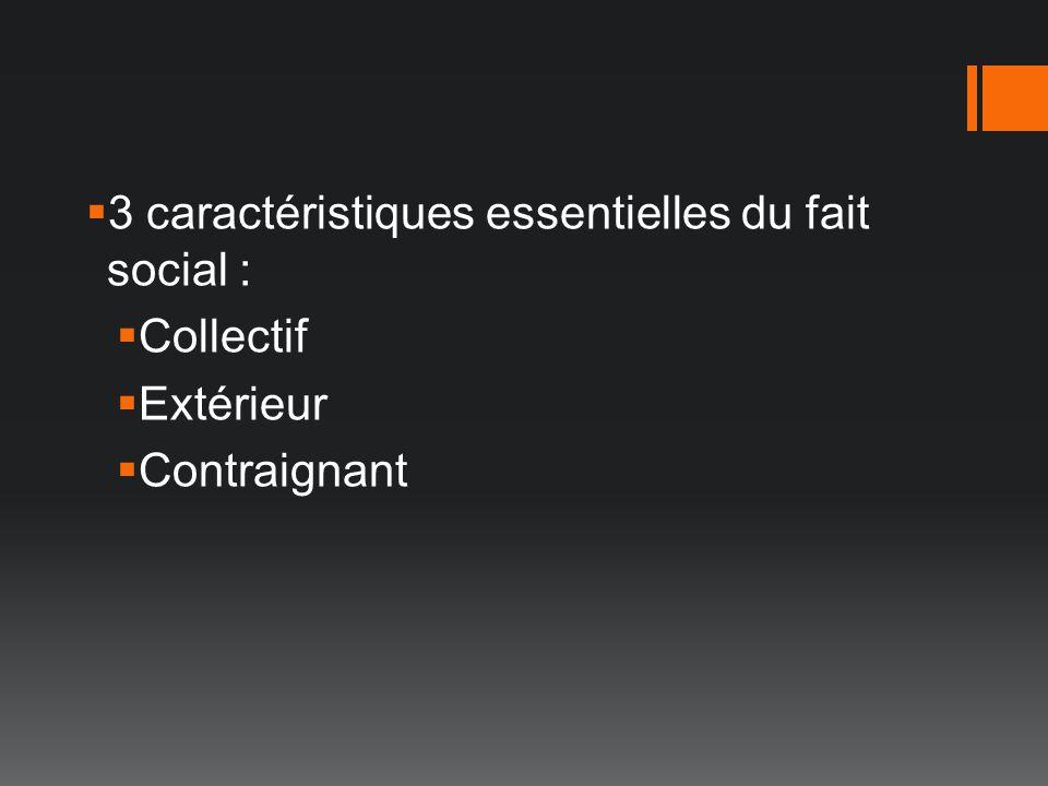 3 caractéristiques essentielles du fait social :