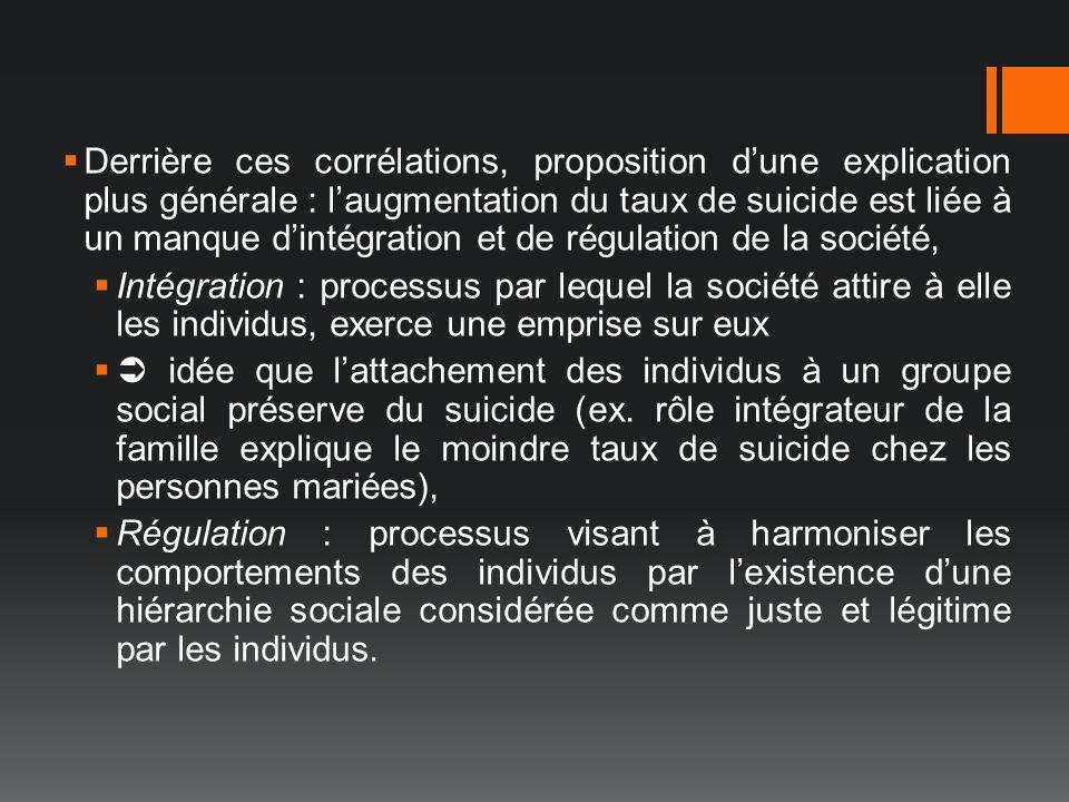Derrière ces corrélations, proposition d'une explication plus générale : l'augmentation du taux de suicide est liée à un manque d'intégration et de régulation de la société,