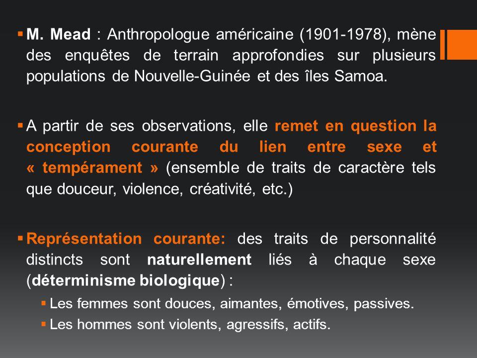 M. Mead : Anthropologue américaine (1901-1978), mène des enquêtes de terrain approfondies sur plusieurs populations de Nouvelle-Guinée et des îles Samoa.