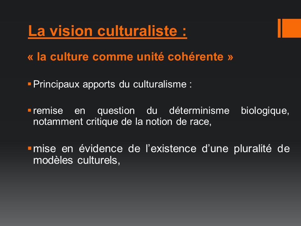 La vision culturaliste :