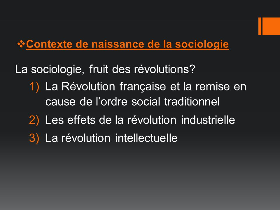 La sociologie, fruit des révolutions