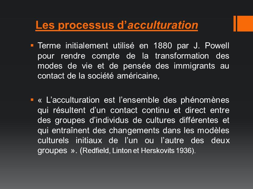 Les processus d'acculturation