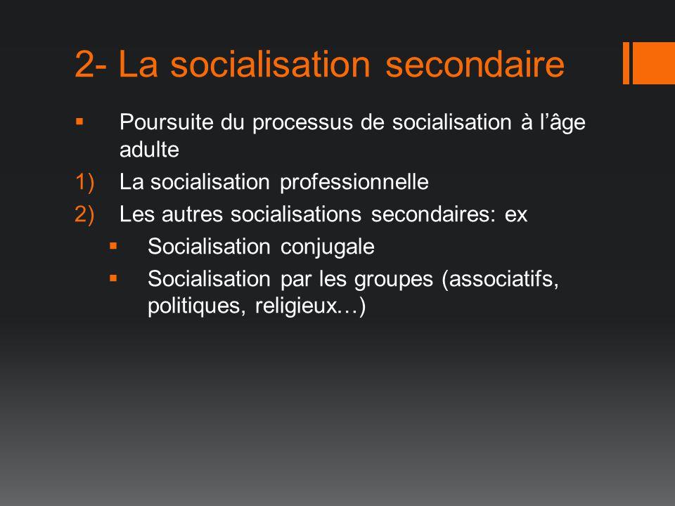 2- La socialisation secondaire