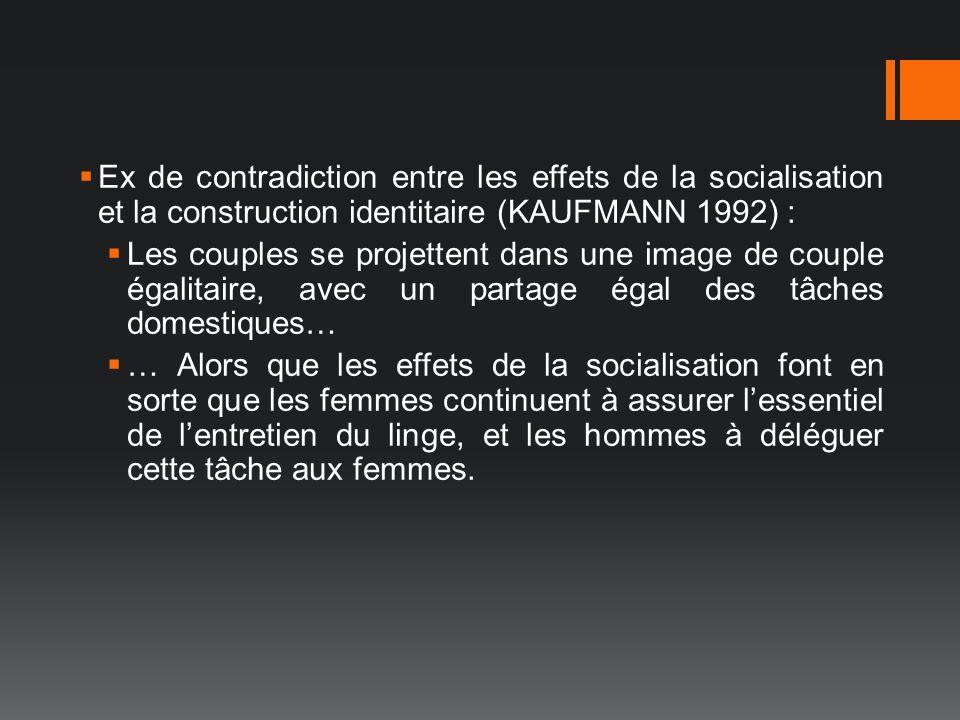 Ex de contradiction entre les effets de la socialisation et la construction identitaire (KAUFMANN 1992) :