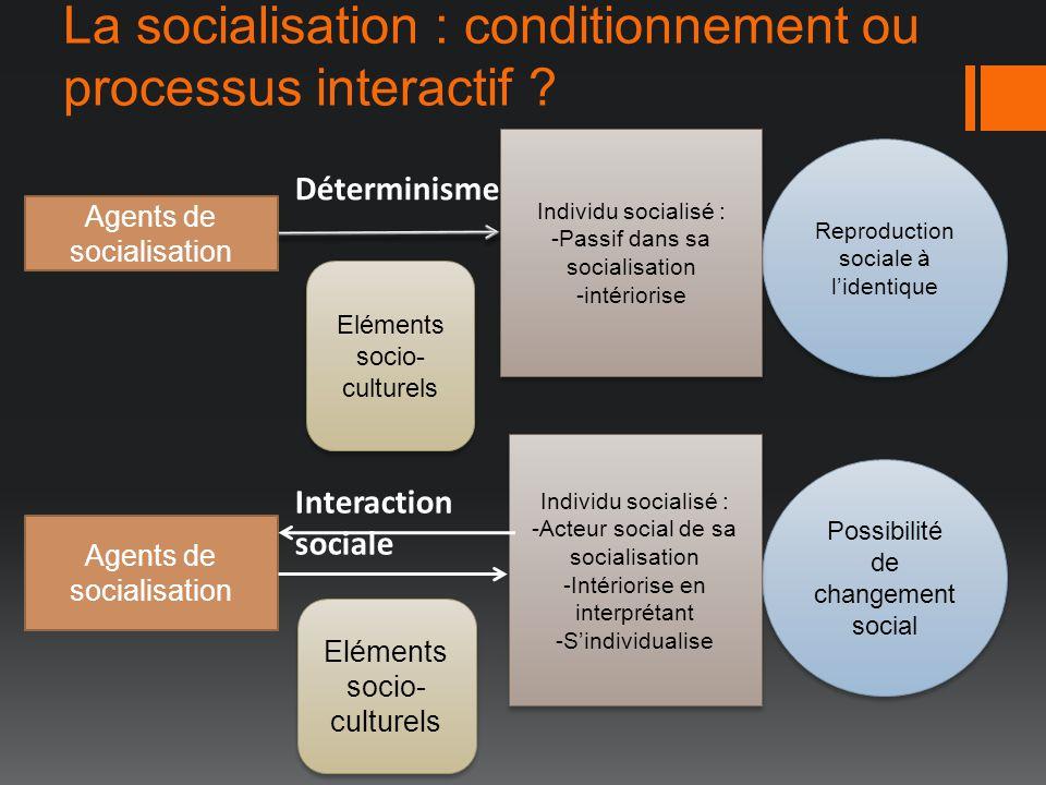 La socialisation : conditionnement ou processus interactif