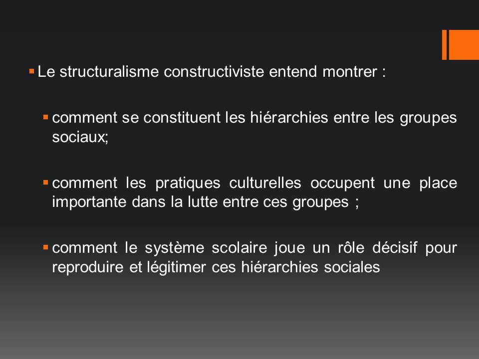 Le structuralisme constructiviste entend montrer :