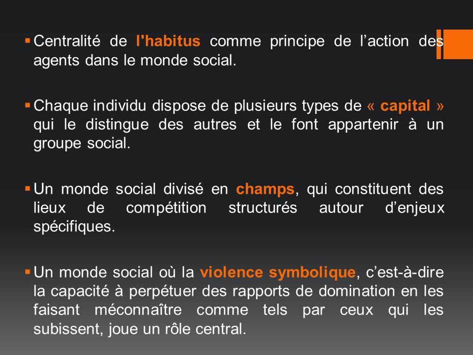Centralité de l habitus comme principe de l'action des agents dans le monde social.