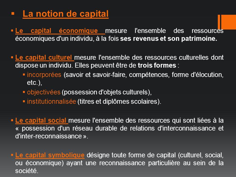 La notion de capital Le capital économique mesure l ensemble des ressources économiques d un individu, à la fois ses revenus et son patrimoine.