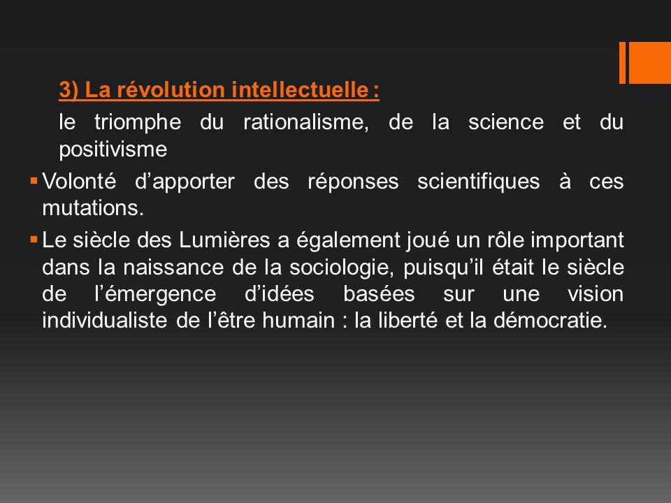 3) La révolution intellectuelle :