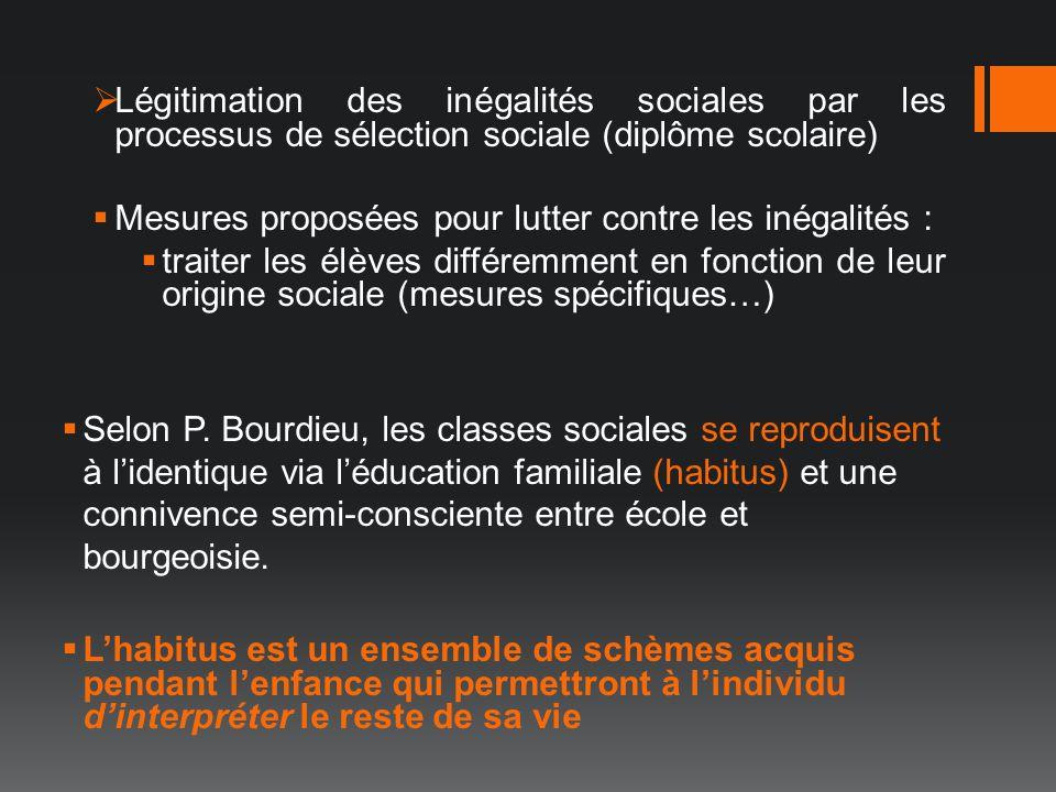 Légitimation des inégalités sociales par les processus de sélection sociale (diplôme scolaire)