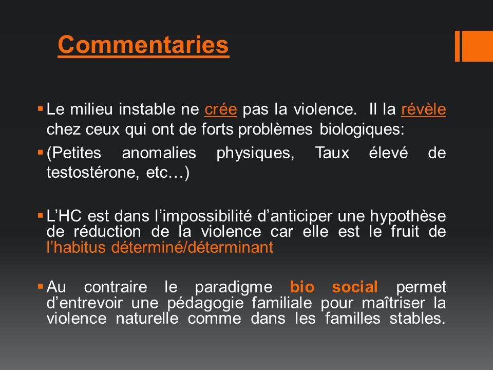 Commentaries Le milieu instable ne crée pas la violence. Il la révèle chez ceux qui ont de forts problèmes biologiques: