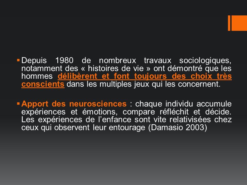 Depuis 1980 de nombreux travaux sociologiques, notamment des « histoires de vie » ont démontré que les hommes délibèrent et font toujours des choix très conscients dans les multiples jeux qui les concernent.