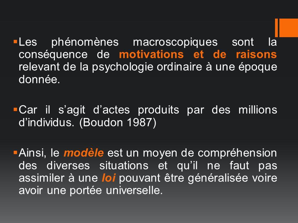 Les phénomènes macroscopiques sont la conséquence de motivations et de raisons relevant de la psychologie ordinaire à une époque donnée.