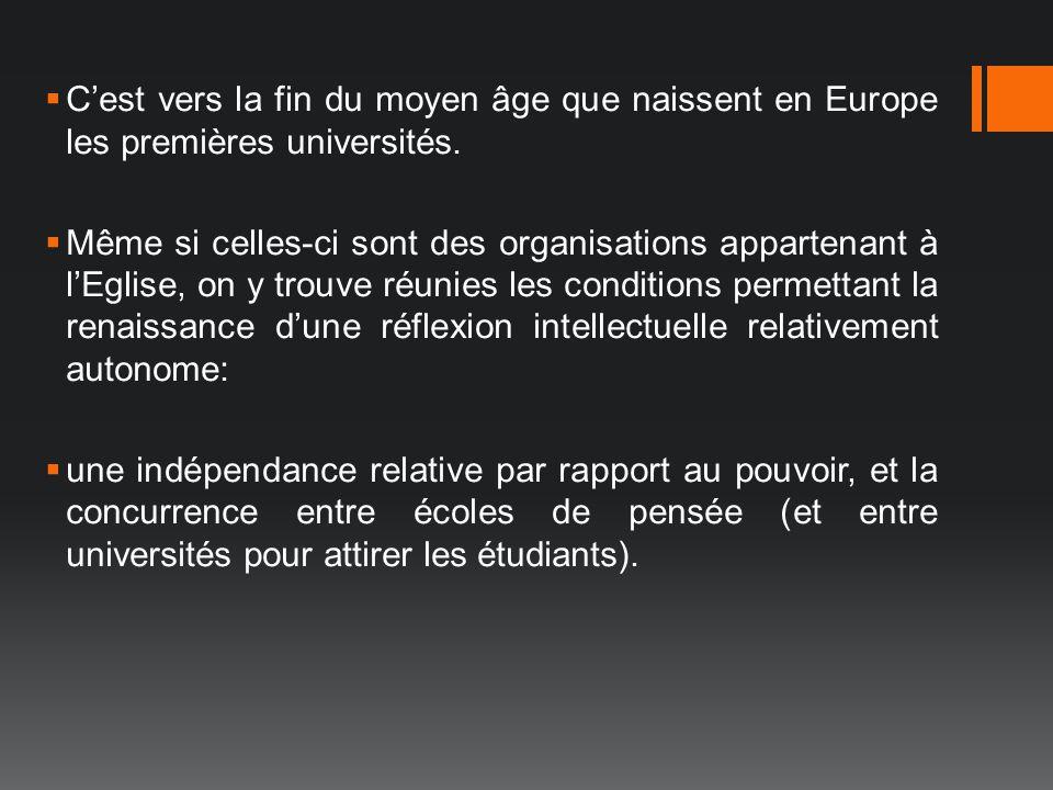 C'est vers la fin du moyen âge que naissent en Europe les premières universités.