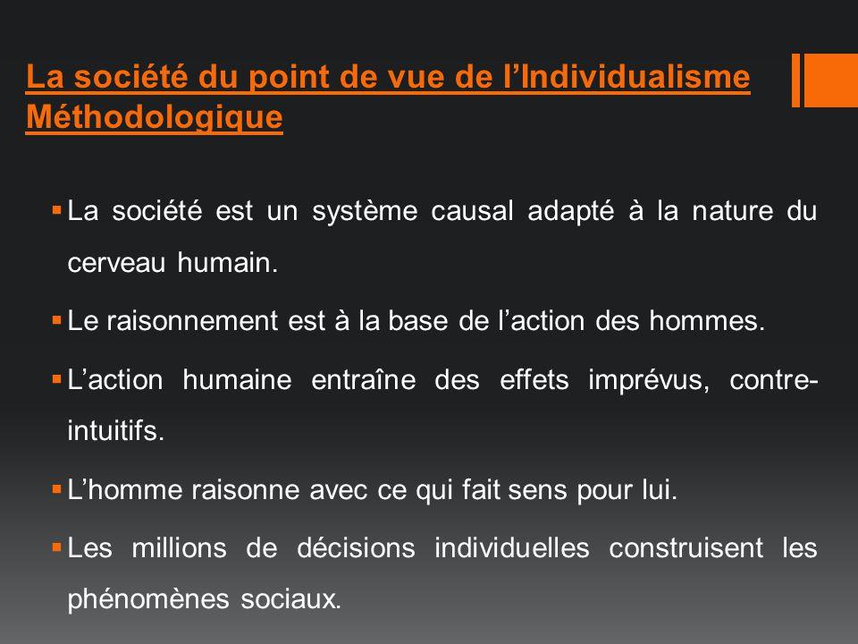 La société du point de vue de l'Individualisme Méthodologique