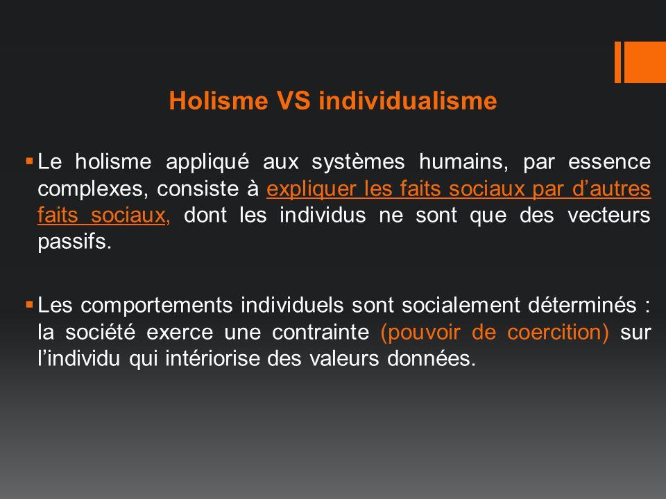 Holisme VS individualisme