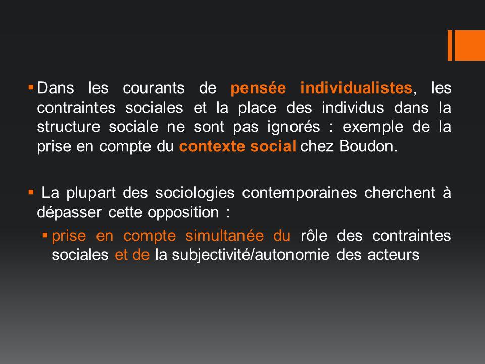 Dans les courants de pensée individualistes, les contraintes sociales et la place des individus dans la structure sociale ne sont pas ignorés : exemple de la prise en compte du contexte social chez Boudon.