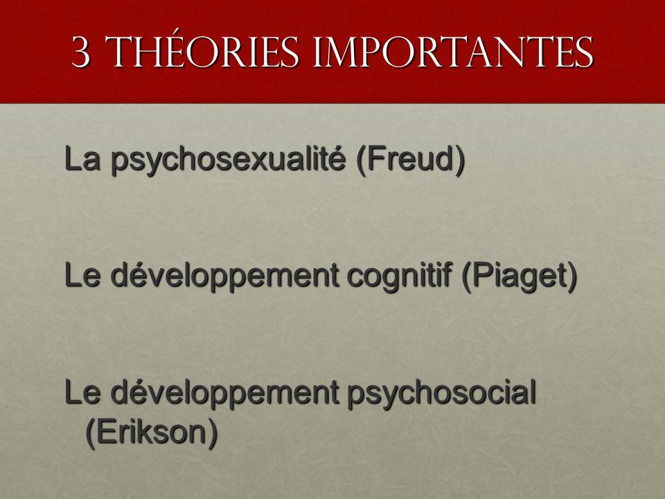 3 Théories Importantes La psychosexualité (Freud) Le développement cognitif (Piaget) Le développement psychosocial (Erikson)