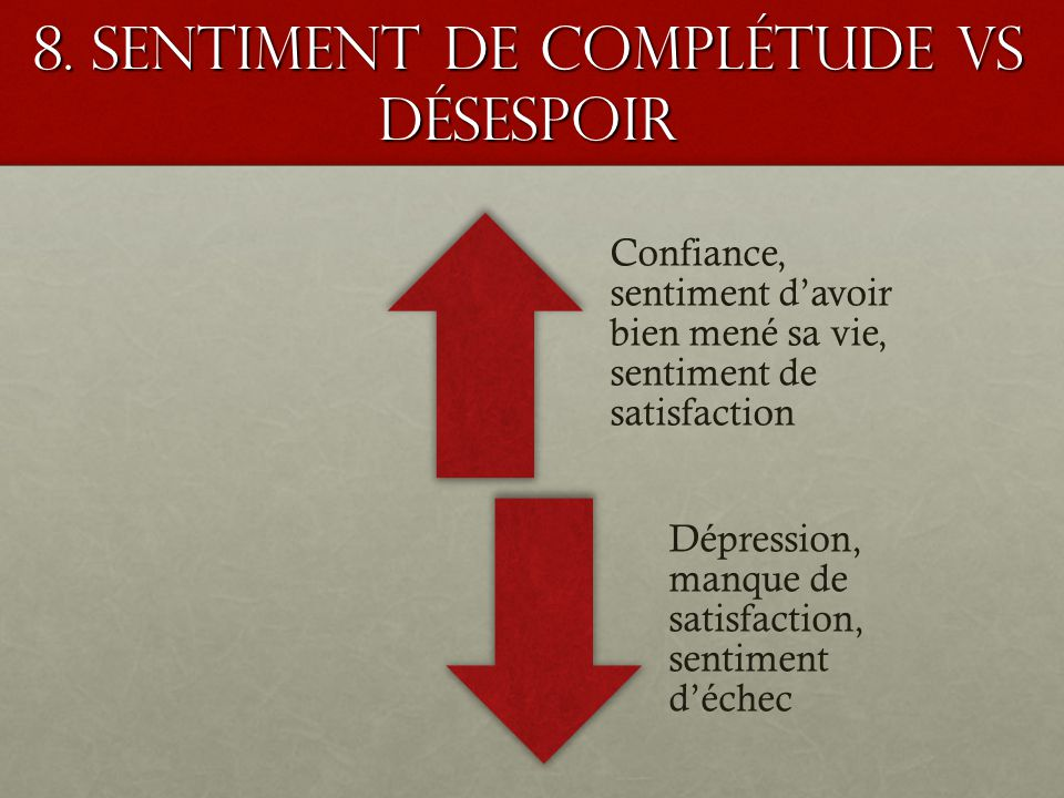 8. Sentiment de complétude VS désespoir