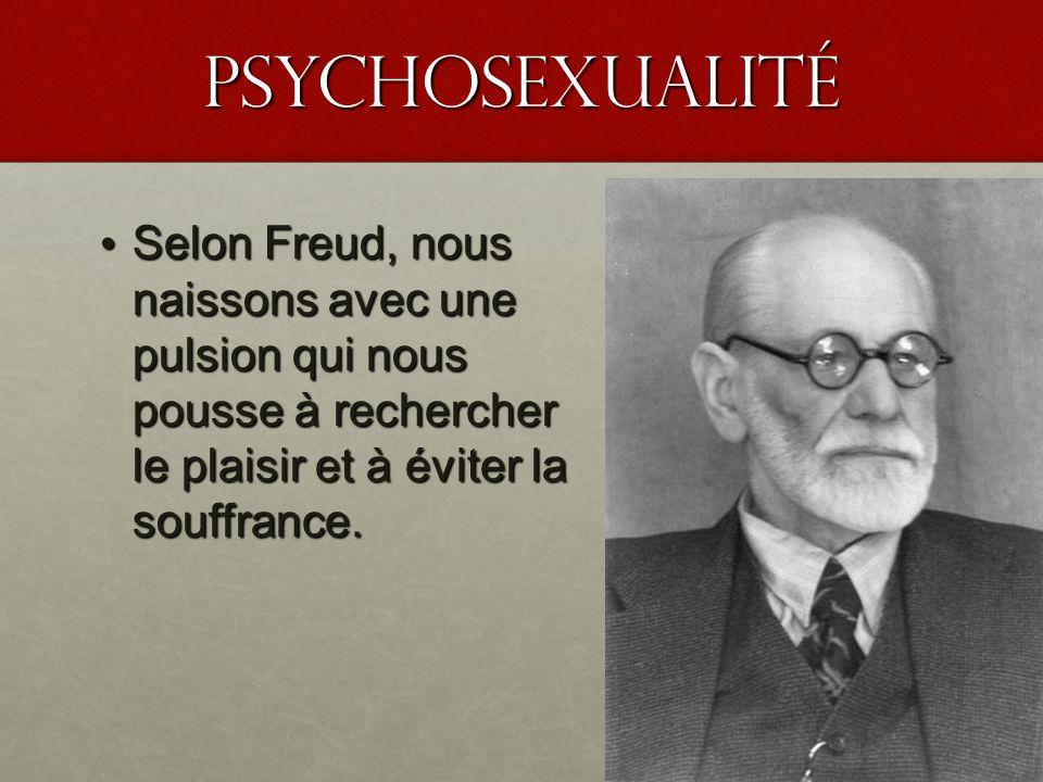 PSyChosexualité Selon Freud, nous naissons avec une pulsion qui nous pousse à rechercher le plaisir et à éviter la souffrance.