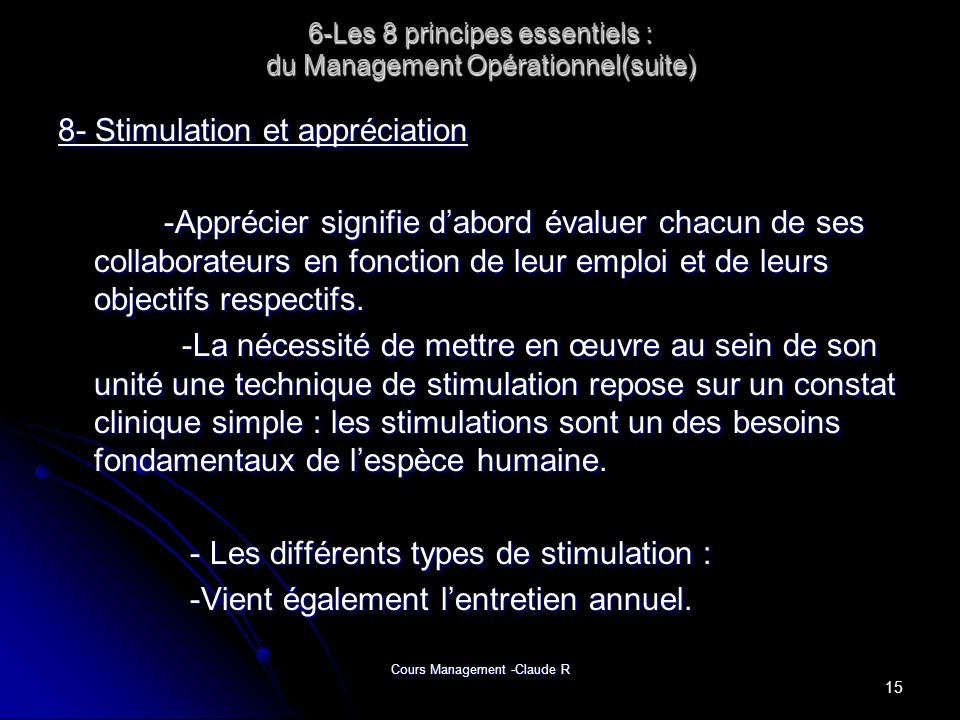 6-Les 8 principes essentiels : du Management Opérationnel(suite)