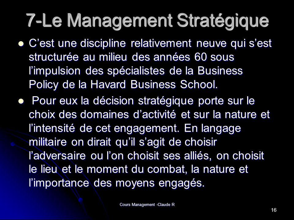 7-Le Management Stratégique