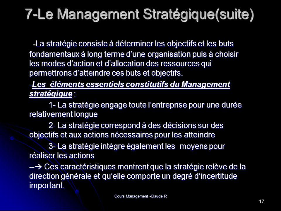 7-Le Management Stratégique(suite)